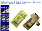 Barbeador kit econômico com 1 barbeador clássico antigo + cartela de lamina Pincel