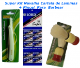 Barbeador Super Kit Navalha Cartela De Laminas + Pincel