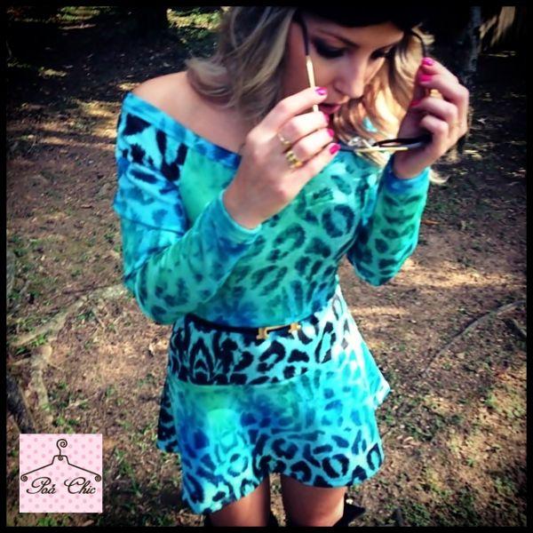 Vestido Animal Print (Oncinha) Azul / Neoprene
