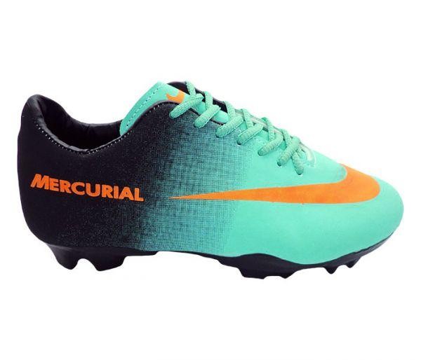 6e070272c2 Chuteira Nike Mercurial Verde Água e Preto (Cod. 11755) - Lojas Quintian