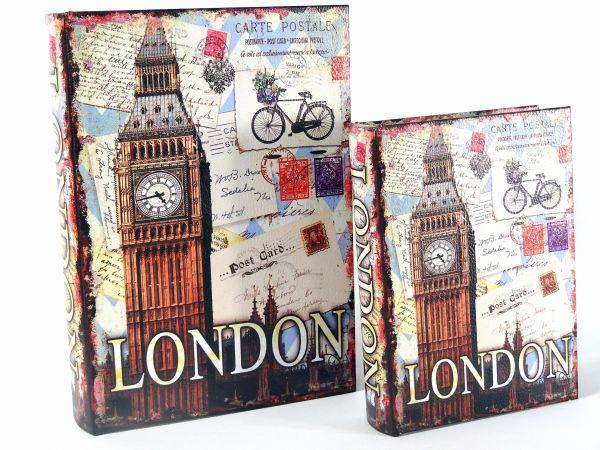 Jogo 2 Caixas Livro Decorativa Big Ben em MDF e Courino
