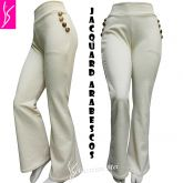 calça flare ou reta GG(46), com bolsos na frente e aplique de botões, bege/offwhite