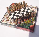 Xadrez Espanhóis X Incas Jogo Tabuleiro Colorido Artesanal