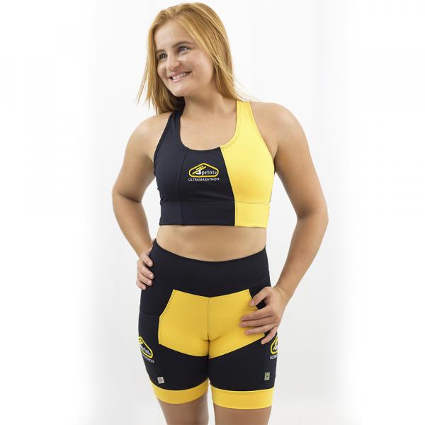 Top Nadador de Compressão Preto e Amarelo - Emana