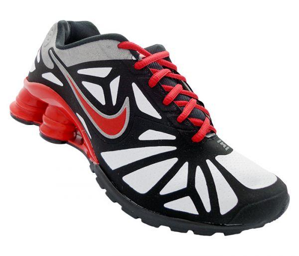 2228364a201 Tênis Nike Shox Turbo 14 Preto Branco e Vermelho MOD 12400 - fut gar ...