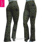 calça feminina flare ou reta(GG-46),estampa triângulos verde e preto,cintura alta, suplex 320