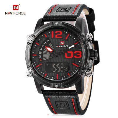5ab00590f3f Relógio NAVIFORCE NF9095M Masculino Analógico Digital Pulseiras de couro A  prova D água