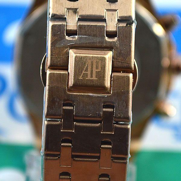 4fdb637a0e8 Relógio Audemars Piguet Royal Oak Funcional Rosé Fundo Preto Pulseira Aço  Masculino À prova d´