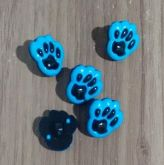 Botões Patinha preto com Azul (12 unidades)