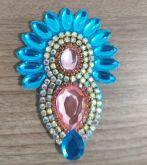 *Cabedal Cocá Azul com pedra Rosa(Par)