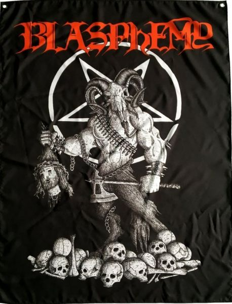 BLASPHEMY - Official high quality cloth 90cm x 124cm size with two grommets. - FLAG