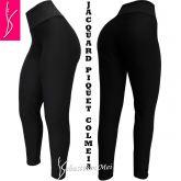 legging preta plus size (48/50) cintura alta, tecido jacquard piquet colmeia