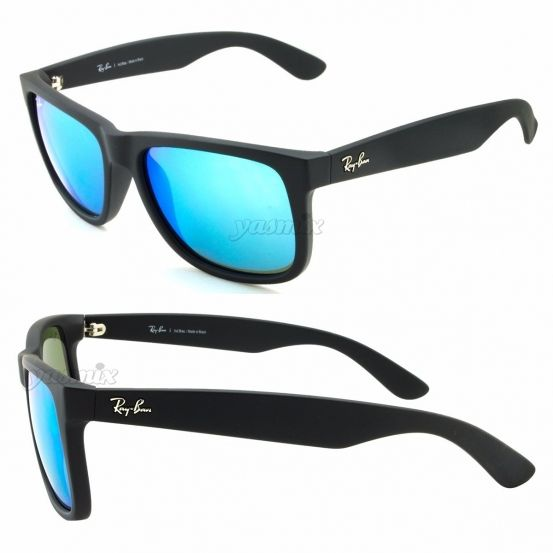 Óculos de Sol Ray-Ban RB4165 Justin Azul - Lente Azul Espelhado ... 3fb5022fbd