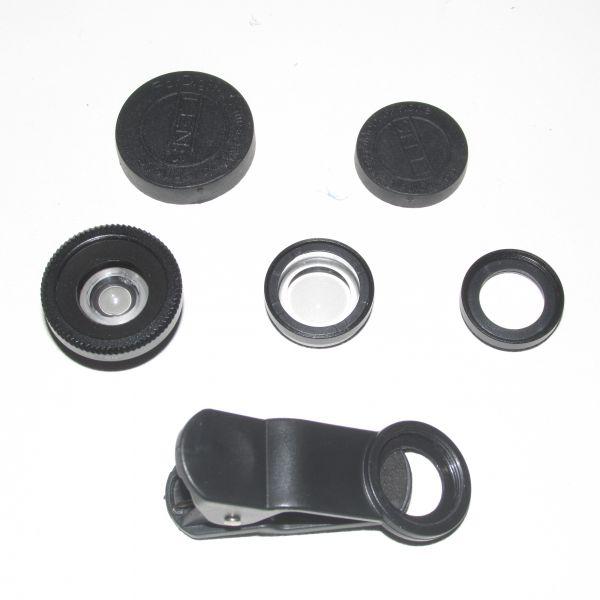 Kit com três lentes e pregador para celular