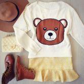Tricot  Urso [ Rosto ] Off White
