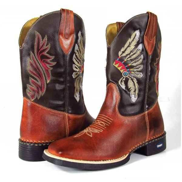 05e17e945c Bota Masculina Cano Longo Texana Country Bico Quadrado Indio - Achy Tudo