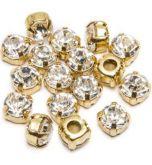 Strass Dourado para costura Tam 34 (50 unidades)