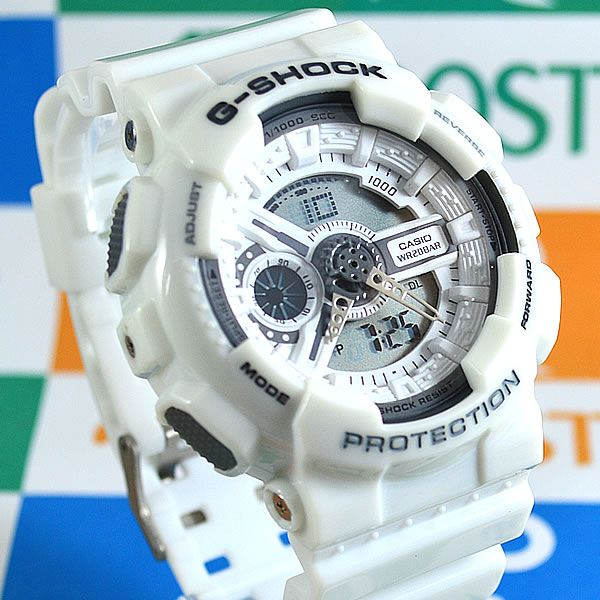 ce10c0778e6 Relógio Casio G Shock GA-110 Branco Unissex à prova d´água + Caixa ...