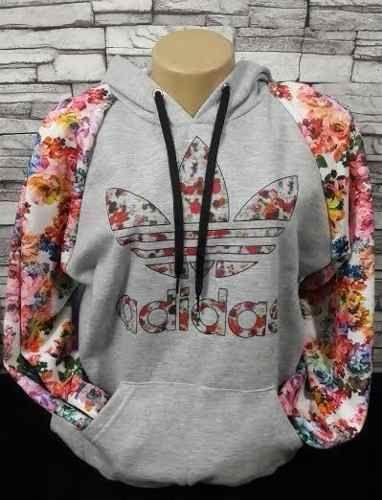 c2352833196 Blusa Moletom Adidas Cinza Floral 1 - Outlet Ser Chic