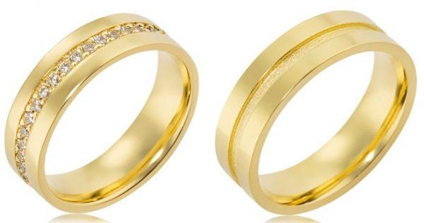 Alianças de ouro 18k com pedras de zirconia - modelos: 43146/43147