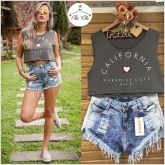 Cropped Bordado California { Cinza }