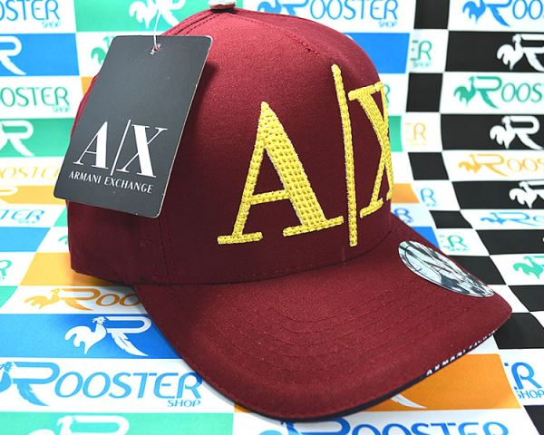 cbac70f36b603 Boné Armani Exchange AX Classic Vermelho Logo Dourada Aba Curva Strapback