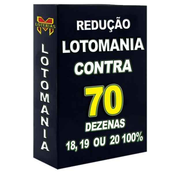 Redução LOTOMANIA contra 70 dezenas, 18, 19 ou 20 pontos 100%