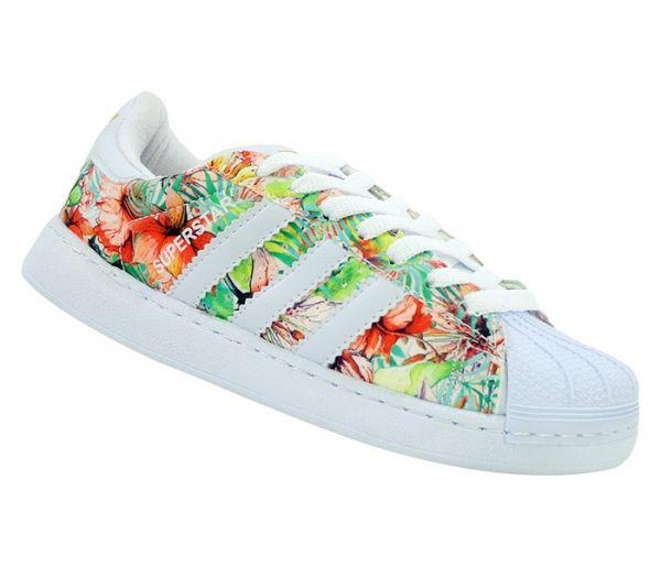f62192b0a76 Tênis Feminino Adidas Superstar Branco e Floral Amarelo - Lojas John