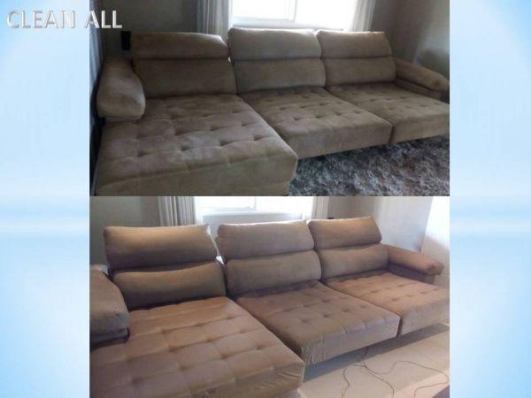 Limpeza em Sofá de 3 lugares com módulo retrátil