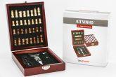 Kit Acessórios para Vinho 5 Peças Inox Caixa com Jogo Xadrez