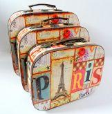 Conjunto Com 3 Maletas em MDF Retrô Vintage Paris