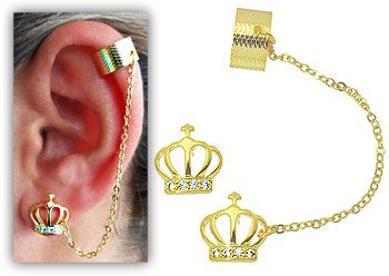 Ear Cuff Coroa com Zircônias