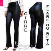 calça flare ou reta(P-M-G), cirrê preto, cintura alta, brilho semelhante ao couro