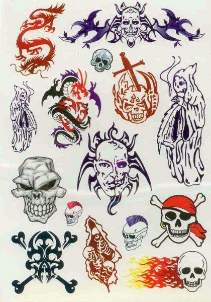 Kit 60 Tatuagens Caveiras