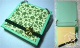 Post-it com capa de disquete verde com chaton