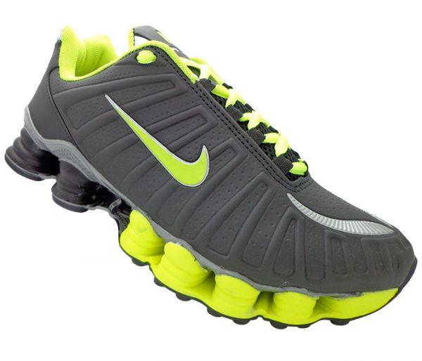 294c7e3bed Tênis Nike Shox TLX 12 Molas Preto e Verde Limão MOD13173 Réplica ...