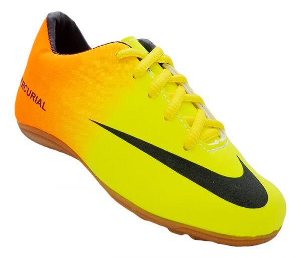 de79247a24c38 Chuteira Infantil Society Nike Mercurial Laranja e Verde Limão MOD 12858