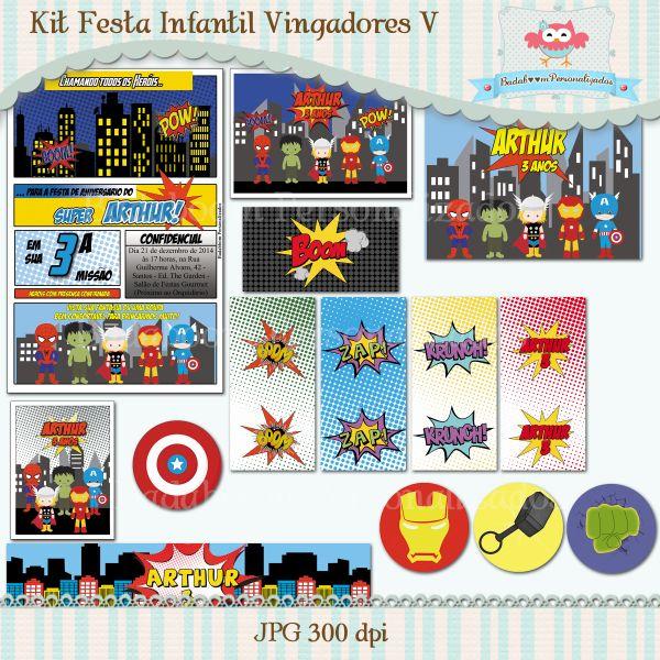 Kit Festa Infantil Vingadores V Badaboom Personalizados