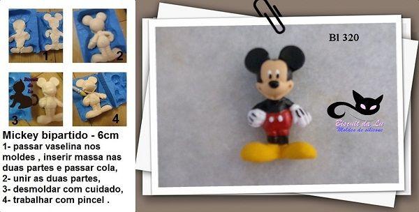 Mickey 3D Bipartido de corpo inteiro com 6cm