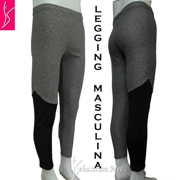 legging masculina (P-M-G) cinza com detalhe preto