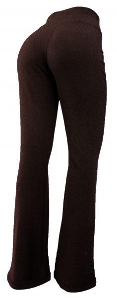 calça feminina plus size marrom(48/50), flare ou corte reto, tecido crepe de malha