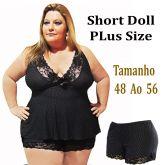 Shortdoll Liganet Plus Size Com Renda Barra E Busto