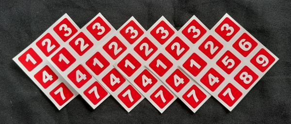 Adesivos para fazer um cubo SUDOKU Números Vermelho