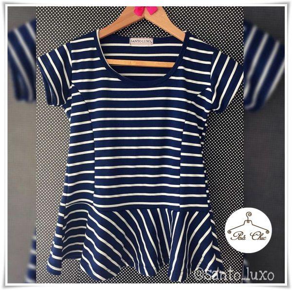 Blusa Peplum Listrada | Stripes [ Azul Marinho | Branco ]