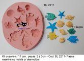 Oceano com peixe, concha, estrela do mar - 11 cavidades ( BL 2211 )