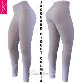 legging branca plus(56/58-60/62) cintura alta, jacquard piquet colmeia