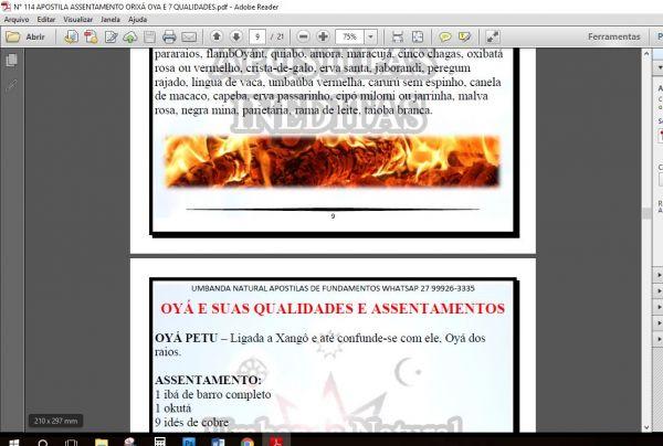 APOSTILA ASSENTAMENTO ORIXÁ OYÁ / IANÇA