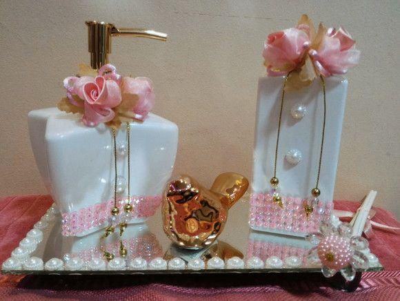 Kit Lavabo Difusor + Sabonete Líquido Luxo Branco e Rosa