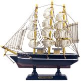 Embarcação Caravela Miniatura de Madeira Azul/Marrom  8cm