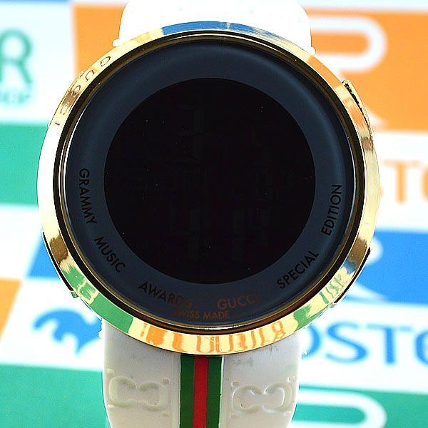 274fb9d342b Relógio Gucci Grammy Awards Digital Dourado Pulseira Borracha Branca Unissex  À PROVA D´ÁGUA